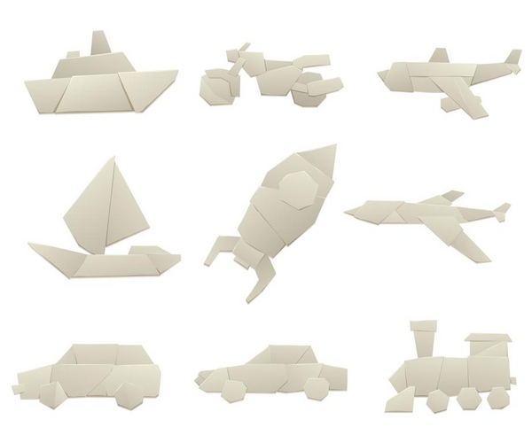 prototyper av olika fordon i papper